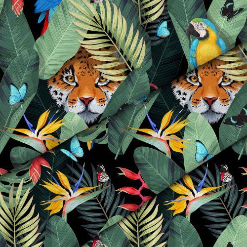 Jaguar And Palm Leaves